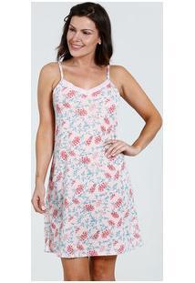 Camisola Feminina Estampa Floral Decote V Renda Marisa