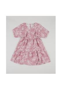 Vestido Infantil Estampado Floral Com Transpasse Manga Longa Rosê