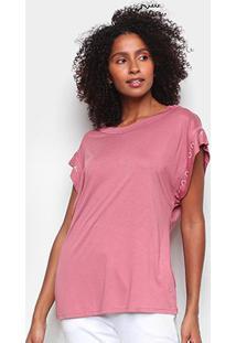 Camiseta Colcci Lettering Feminina - Feminino-Rosa