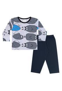 Conjunto Pijama Menino Em M/Malha Camiseta Rotativa Monstrinhos Gelo E Calça Preta - Liga Nessa