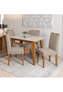 Conjunto De Mesa De Jantar Com Tampo De Vidro Jade E 4 Cadeiras Isabela Animalle Carrara E Cinza