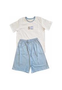 Pijama Masculino Infantil Camiseta E Shorts Algodão Sonhart Branco