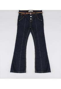 Calça Jeans Infantil Flare Com Cinto Azul Escuro