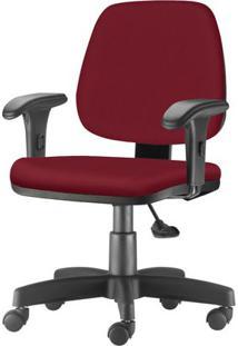 Cadeira Job Com Bracos Curvados Assento Fixo Crepe Vinho Base Rodizio Metalico Preto - 54633 - Sun House