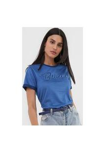 Camiseta Morena Rosa Bordada Azul