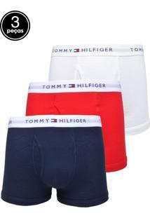 c3781f87896e4a Kit 3pçs Cueca Tommy Hilfiger Boxer Logo Vermelho/Azul-Marinho/Branco