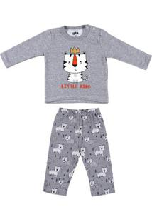 Pijama Longo Flik Infantil Para Bebê Menino - Cinza