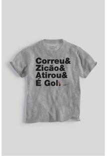 Camiseta Infantil Reserva Mini Narração Masculina - Masculino-Cinza