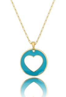 Colar Lua Mia Joias Coração Vazado Esmaltado Azul Banho Dourado