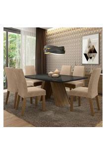 Conjunto Sala De Jantar Madesa Mirela Mesa Tampo De Vidro Com 6 Cadeiras Rustic/Preto/Imperial Rustic