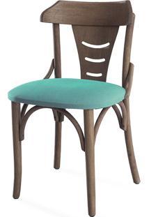 Cadeira Cozinha Estofada Augustine - Stain Nogueira - Tec.950 Azul Turquesa - 45X50,5X83 Cm