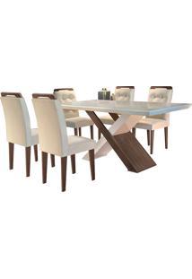 Conjunto De Mesa Para Sala De Jantar Com 6 Cadeiras Doris -Rufato - Veludo Creme / Off White / Café