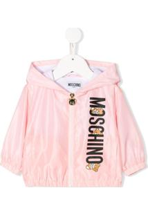 Moschino Kids Jaqueta Impermeável Com Estampa De Logo - Rosa