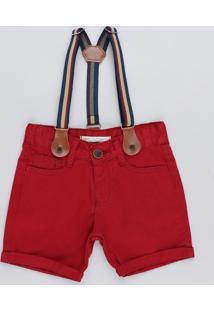Bermuda Color Infantil Com Suspensório Vermelha