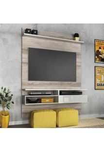 Painel Para Tv 60 Polegadas Sírius Castanha Rústico E Branco Neve 135 Cm