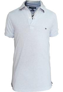 Polo Tommy Hilfiger Masculina Slim Fit Stretch Cloud Blue