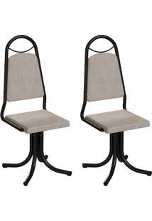 Conjunto Com 2 Cadeiras Sydney Palha E Preto