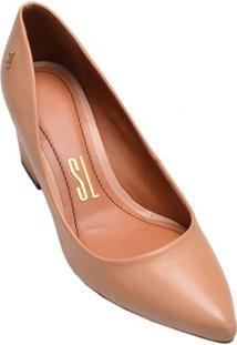 Sapato Feminino Salto Médio Bico Fino Santa Lolla Amêndoa