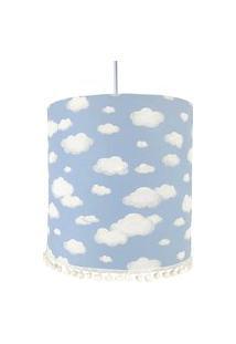 Lustre Tubular Pompom Nuvem Azul Quarto Bebê Infantil Menino