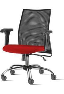 Cadeira Liss Com Bracos Curvados Assento Crepe Vermelho Base Semi Arcada Cromada - 54657 - Sun House