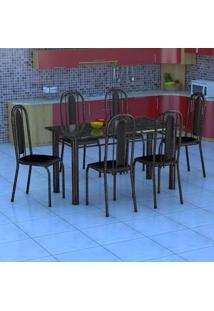 Conjunto De Mesa Com 6 Cadeiras Granada Preto Liso Gr
