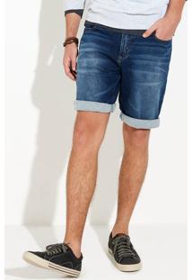 Bermuda Jeans Masculina Em Lavação Clara Com Desgastes