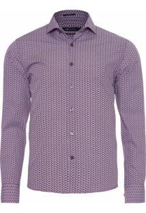 Camisa Masculina Estampa Geométrica - Vinho