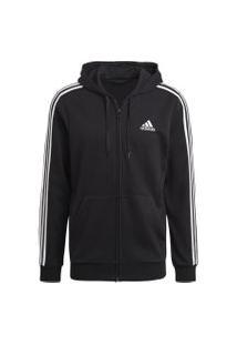 Jaqueta Moletom Adidas Capuz Essentials 3S Masculina Gk9032, Cor: Preto/Branco, Tamanho: P