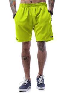 Bermuda Tactel Neon Cellos Basic - Masculino-Verde Limão