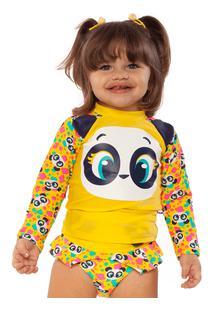 Camiseta Panda Aquarela Baby 3 A 6