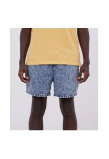 Bermuda Marmorizada Em Jeans Com Amarração   Blue Steel   Azul   P