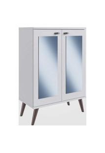 Estante Retrô Com Espelho, 2 Portas E 3 Prateleiras Branco Completa Móveis