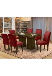 Mesa Para Sala De Jantar Com 6 Cadeiras Amsterdam – Dobuê Movelaria - Castanho / Marsala
