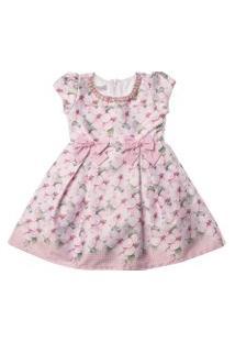 Vestido Infantil De Cetim Estampado Floral Rosa Com Bordado Em Pérolas - Anjos Baby Chic Rosa