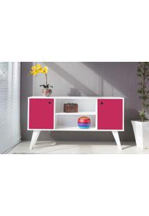 Armário Buffet Vintage 02 Portas Com Prateleira Para Sala Rosa Pink Cristal 135X38,5X73 Cm