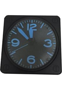 Relógio De Parede Azul Black Plástico 31X21 Cm - Tricae