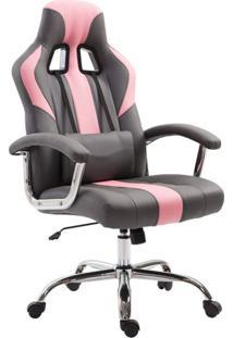 Cadeira De Escritório Presidente Giratória Gamer Dinamarca Cinza E Rosa
