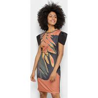 21e2542e0 Vestido Morena Rosa Curto Tubinho Estampa Floral Manga Curta -  Feminino-Preto