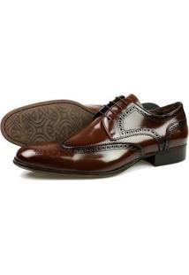 Sapato Social Oxford Classico Marrom Couro Masculino - Masculino