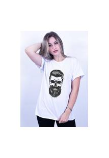 Camiseta Corte A Fio Bilhan Caveirab Branca