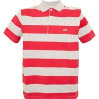 Camisa Polo Lacoste Infantil Listras Cinza 986caabe48