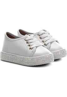Sapato Infantil Molekinha Napa Turim Gliter - Feminino-Branco