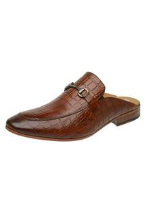 Sapato Mule Masculino Slipper Malbork Couro Croco Whisky 5849 Marrom Amarelado