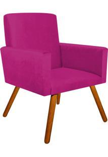 Poltrona Decorativa Nina Suede Pink Com Encosto Alto - D'Rossi