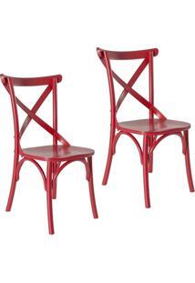 Kit 2 Cadeiras Paris Estilo Vintage Em Madeira Maciça Pintura Laca Vermelho