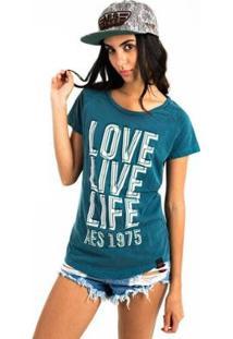 Camiseta Aes 1975 Love Life Feminina - Feminino-Verde