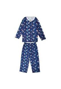 Pijama Longo Babié Infantil Tubarão Masculino Marinho