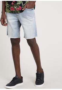 Bermuda Jeans Masculina Blueman Com Barra Desfiada Azul Claro