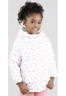 Jaqueta Infantil Puffer Estampada De Poá Com Capuz Branca