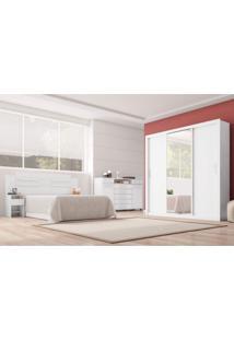 Quarto De Casal Completo Com Guarda Roupa Com Espelho 3 Portas Cômoda E Cabeceira Siena Móveis Branco